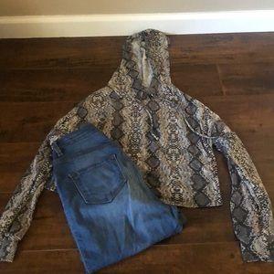Charlotte Russe snake print crop hoodie